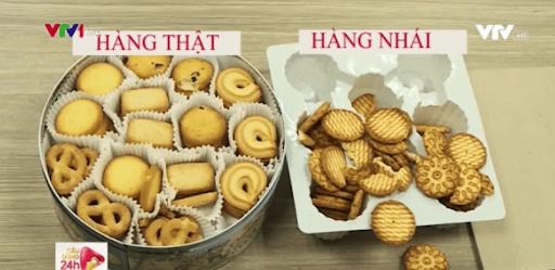 Bánh danisa thật và giả