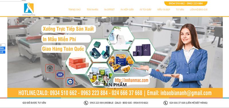 Website Công Ty TNHH Đầu tư và Sản xuất An Anh