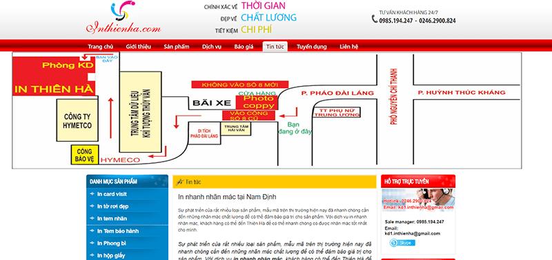 Website công ty Cổ phần In Thiên Hà